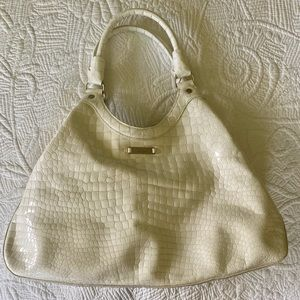 Cole Haan White Croc Embossed Patent Leather Bag